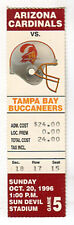 TAMPA BAY BUCCANEERS at ARIZONA CARDINALS NFL FOOTBALL TICKET Oct 20, 1996