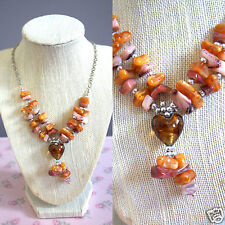 "Silvertone Cluster Beaded Heart Necklace Warm Hues Matching 1"" Pierced Earrings"