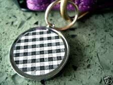 Black and White Gingham Name Tag Pet Id Dog Cat Tag Charms Custom