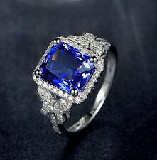 18K WHITE GOLD NATURAL BLUE TANZANITE VVS Brilliant DIAMOND Wedding Ladies RING