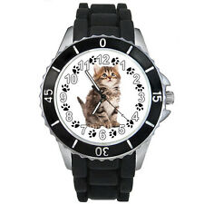 Siberian Kitten Cat Mens Ladies Unisex Black Jelly Silicone Wrist Watch S292E