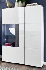 Vitrine Highboard Hochglanz weiß grau Wohn Esszimmer Schrank Tokyo + Beleuchtung
