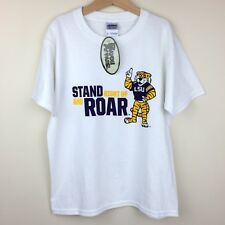 New LSU Tigers Gildan Size S Youth Stand Right Up and Roar T-Shirt Tee White NWT