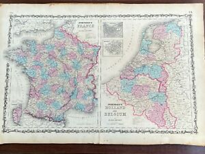 Real Antique Map Johnson's 1862 2-Page Hand colored: France, Holland & Belgium