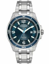 New Citizen Eco-Drive TI+IP Titanium Blue Dial Date Analog Watch BM6929-56L