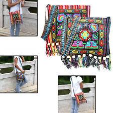 Hmong Vintage Tote Messenger Hippie Tassel Ethnic Shoulder Bag Embroidery Boho