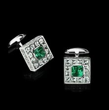 14k White Gold Cuff Link Men's Jewelry Green Asscher Princess Cut Gift