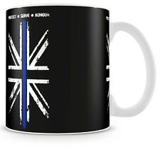 """THIN BLUE LINE"" Police UK Flag MUG - free delivery + 10% to COPS Charity V5"