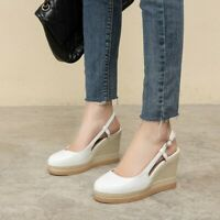 Women Round Toe Wedge High Heels Buckle Platform Pumps Retro Roman Casual Shoes