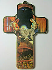 "The Nativity Picture Wall Cross on Wood  5"" Made in Italy"