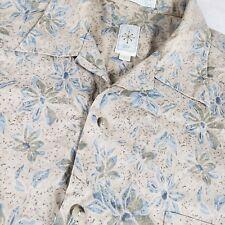 Burma Bibas Mens Luxury Floral Shirt S/S Button Green Sz Large
