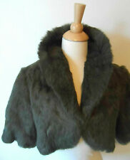 CHLOE - VTG Khaki Green Cropped Bolero Lined Fur Jacket Coat - 100% Rabbit - S