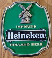 """Vintage Imported 8X9"""" Heineken Holland Beer Sign Advertising Display Euc"""