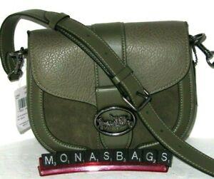 Coach C2805 Georgie Saddle Bag Kelp Green Mix Leather & Suede Handbag NWT $350