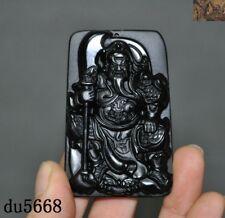 China FengShui obsidian jade carved Guan Gong Guan Yu Warrior God Statue Pendant