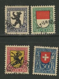 1924 Pro Juventute charity set used (suisse schweiz Mi 209-12 S.G J28-31 cat £28