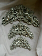 Cherubs & Flowers  Decorative Wall Plaques Large medium & Small Silver Color