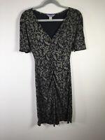 VINTAGE 80s Flora Kung womens black floral silk jersey dress size 8 short sleeve