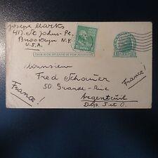 ETATS UNIS USA LETTRE COVER ENTIER POSTAUX CAD BROOKLYN 1946
