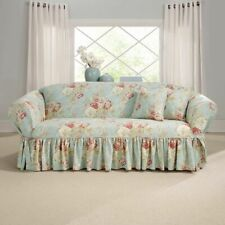 Sure Fit Ballad Bouquet By Waverly One Piece Sofa Slipcover Robins egg NEW