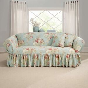 Sure Fit Ballad Bouquet By Waverly One Piece Sofa Slipcover Robins egg