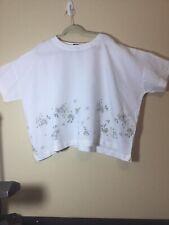 Eskandar -  White Delicate Floral Feminine Linen Tab Collar Top Sz 0 Neiman's
