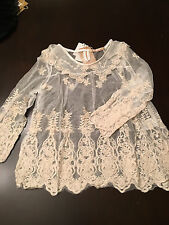 Dazzlin - lace top doll collar floral blouse embroider crochet S JUNIOR M
