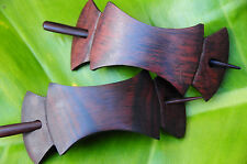 Carved BOW wooden Hair Pin BARRETTE Slide Clasp Clip Sono wood handmade NATURAL