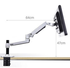 Adjustable Polished Aluminu Desk Mount LCD Arm with Tall Pole
