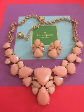 KATE SPADE GOLD Plated *COLOR POP* Statement Necklace & Earrings SET PINK BLUSH