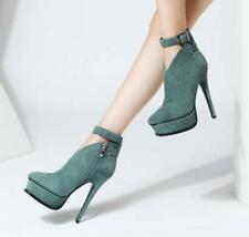 Womens Sexy Buckle Strap Very High Heels Platform Ankle Boots Stilettos HOT E946