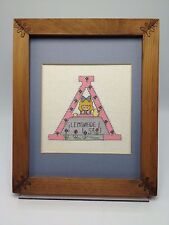 Teddy Bear Finished Cross Stitch Initial A Fame Monogram 1980s Baby Nursery