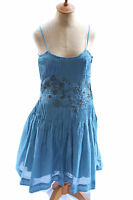 Odille Anthropologie Womens Teal Blue Beaded Cotton Embroidered Dress Sz 4 U2