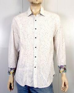 euc Robert Graham Wild Confetti Pattern Flip Cuff Dress Shirt Club classic sz XL