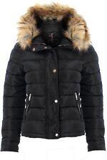 Womens Padded Detachable Fur Lined Hood Popper ZIPPER Puffer Jacket Coat Black UK 12