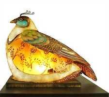 Unique Partridge Bird Capiz Shell & Metal Novelty Table Lamp