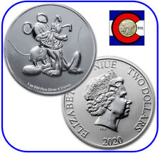 2020 Niue Disney Mickey Mouse & Pluto 1 oz Silver $2 Coin - in capsule