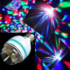E27 3W RGB LED Stage Light Bulb Color Changing  Rotating Lamp Party DJ Light US.