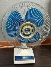 "Vintage Galaxy 12"" Oscillating Fan 3 Speed Clear Blue Blades NICE!!!"