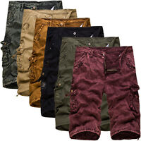 Men Pockets Military Army Cargo Camo Combat Casual Work Shorts Pants Trousers