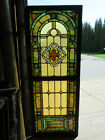 ~ ANTIQUE STAINED GLASS WINDOWS TOP AND BOTTOM SET CC ~ ARCHITECTURAL SALVAGE