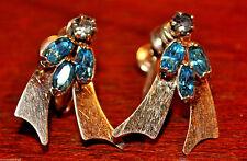 Cobalt Blue Cluster Rhinestone Earrings 1/20 12K Gold Filled Signed C R Reis Co