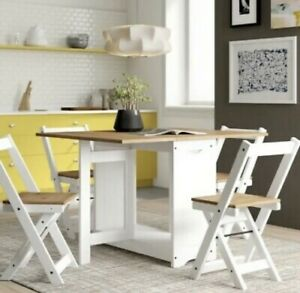 Santos Folding Drop Leaf Butterfly Dining Set with 4 Chairs Pine & White