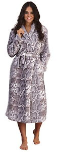 Womens Luxury Dressing Gown Snake Print Robe Ladies Full Length Housecoat Gift