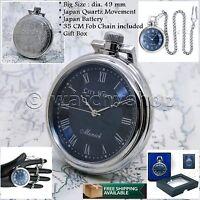 Silver Pocket Watch 49 mm Quartz Blue Roman Dial Men Gifts with Chain Box P127