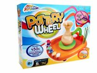 Childrens Pottery Wheel With 450g Clay & Tools & Paint Kids Potters Craft Toy