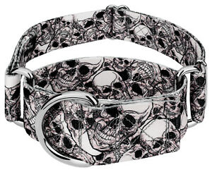 Country Brook Petz® 1 1/2 Inch Phantom Skulls Martingale Dog Collar