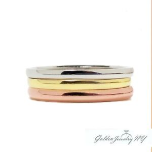 Classic Wedding Band (1.5mm)  White Yellow Rose Gold 14K  (3 rings lot)