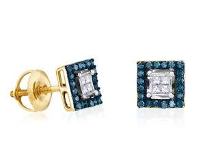 10K Yellow Gold Blue & White Diamond Earrings Princess Cut Square Cluster .33ct