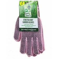 2 x Pairs Heavy Duty Stretch Knit Cotton Garden Gloves Pink Rubber Grips
